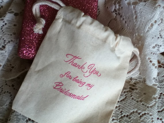 RESERVED PINK BRIDESMAID 8 bags Thank you for being my Gift 5x6 Muslin Bachelorette Party Bridal Jewelry Make up Tags Available Orange Blue