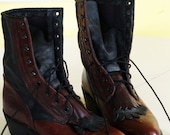 reserved for lula ///// vintage durango boots. lace up ropers. fringe. sexy brown on black kiltie. two toned leather cowgirl. size womens 8.