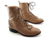 Women's Lace Up Ropers in Taupe Leather with a Hint of Granny Boot. Size 10.