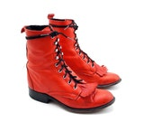 Cherry Bomb Red Fashion Roper Boots in Lace Up Ankle Boot Style for a  Women's size 7