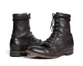 Vintage Justin Roper Boots in Textured Black Leather for Men's size 9 1/2 D