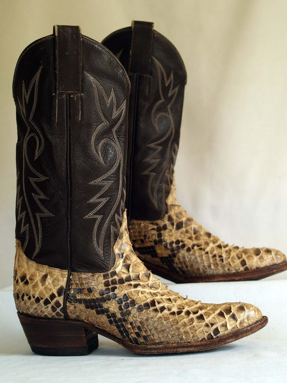 Vintage Snake Skin Cowboy Boots Brown By Rabbithousevintage
