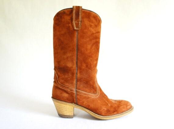 Rust Suede Cowboy Boots - Women's size 7