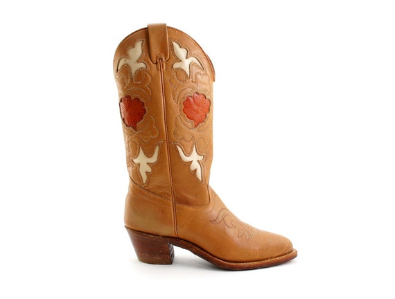 s inlay cowboy boots in light brown leather with by
