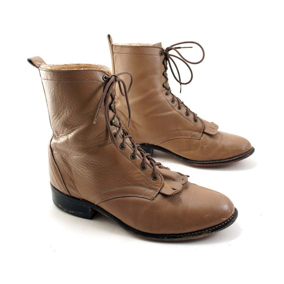 Women s lace up ropers in taupe leather with a hint of granny boot