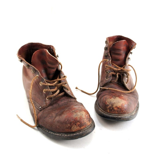 Distressed Steel Toe Work Boots in Old Fashioned Miner Style for a Men's Size 8 1/2
