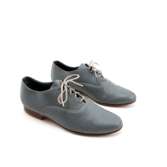 1960's Elephant Gray Oxfords in a Mad Men Lace Up Shoe for a Men's Size 10 D