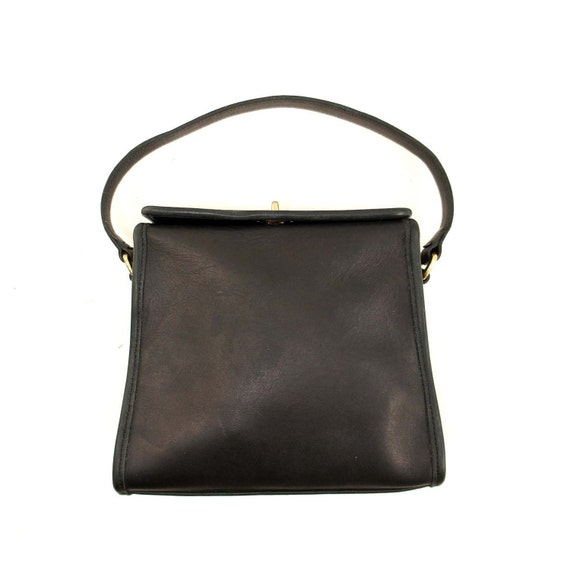 Small Coach Handbag  in Black Leather