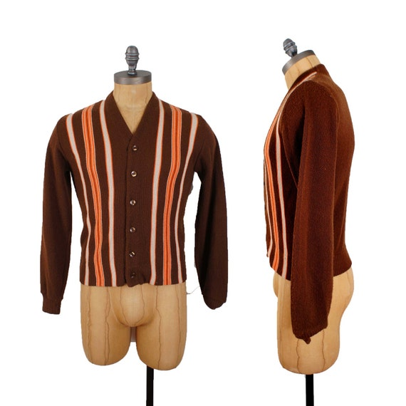 70's Men's Sweater / Brown with Orange and Cream Stripes / Button up Cardigan / Size Small