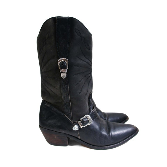 Motorcycle Cowgirl in Midnight Black Boots by Code West for Women's size 6 - 6 1/2