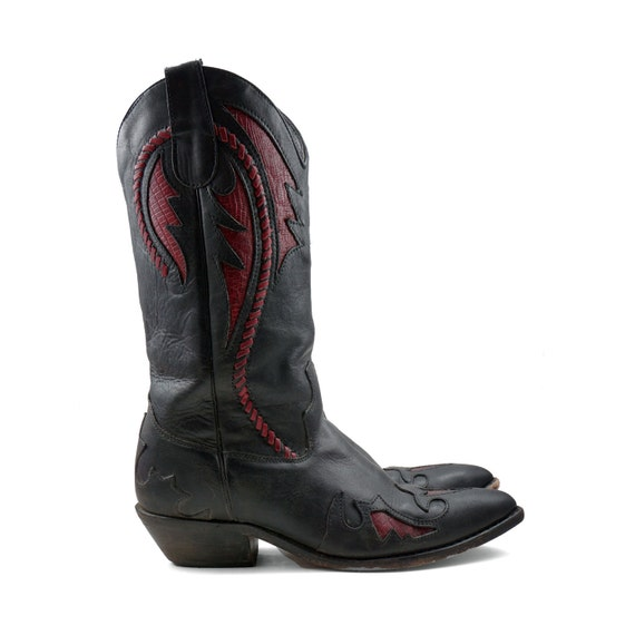 Women's Cowboy Boots in Red and Black Leather with Inlay designs and Cut Out Outlay Wingtips for size 6
