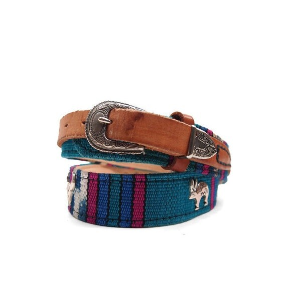 "Southwestern Aztec Belt Animal Charms Turquoise Pink Purple & Honey Brown Leather size Medium (32""-34"")"