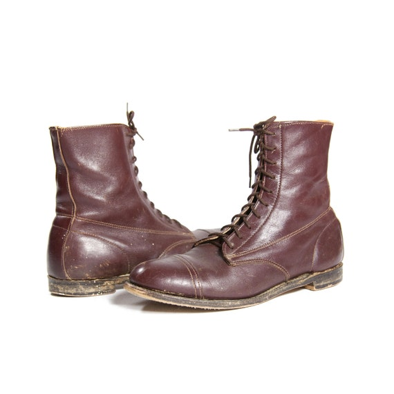 Authentic Vintage Equestrian Lace Up Riding Boots in Chestnut Brown Leather with Cap Toe for Women's size 9