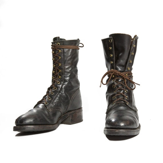 Vintage Lacer Boot by Texas Boot Black Steel Toe Combat Boot Style Lacers Men's size 8 / Women's size 9 1/2 - 10