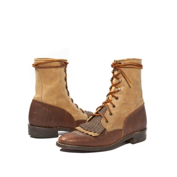 Women's Vintage Justin Roper Boots in Two Toned Chocolate and Butterscotch Leather for a Size 6 B