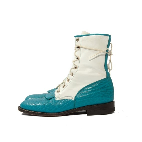 Reserved Eimear /// Women's Justin Ropers Aqua Blue and White Lacers size 7 1/2 - 8