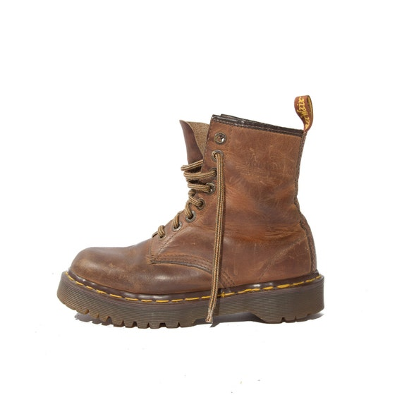 Vintage Dr Marten Boots Rustic Brown Leather Lace Up Combat Styled for a Women's Size 6