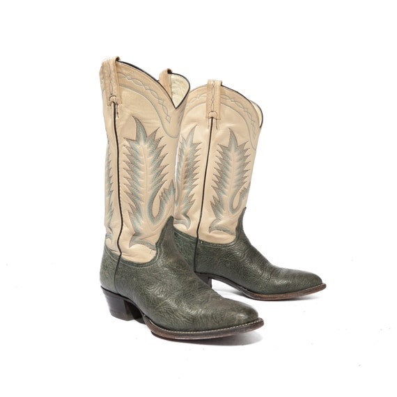 Vintage Tony Lama Cowboy Boots Two Toned Leather Cream and Myrtle Women's Size 8 1/2