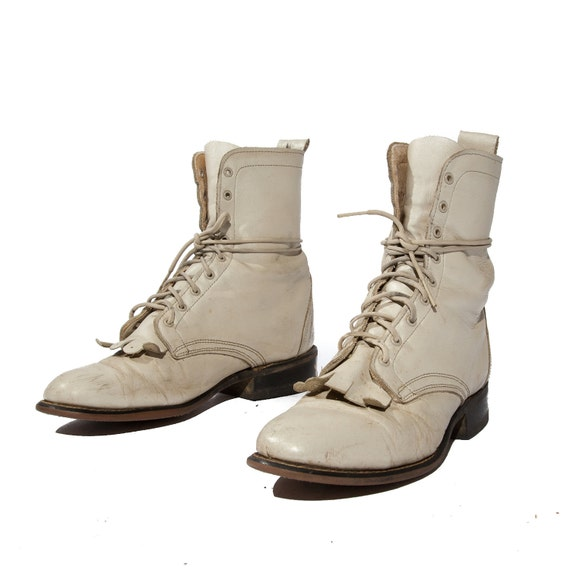 Women's Vintage Lace Up Roper Boots White Lacers Flower Pedal Kilties size 7 1/2