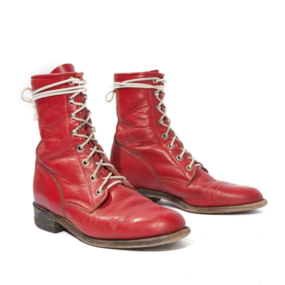 Vintage Red Justin Lace Up Roper Boots for a Women's Size 6 1/2 B