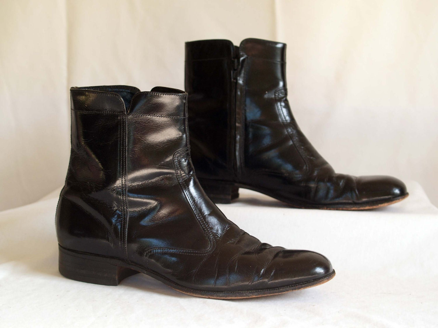 vintage mens beatle boots ankle boots black leather by