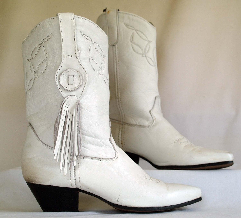 vintage laredo fringe tassel white cowboy boots s