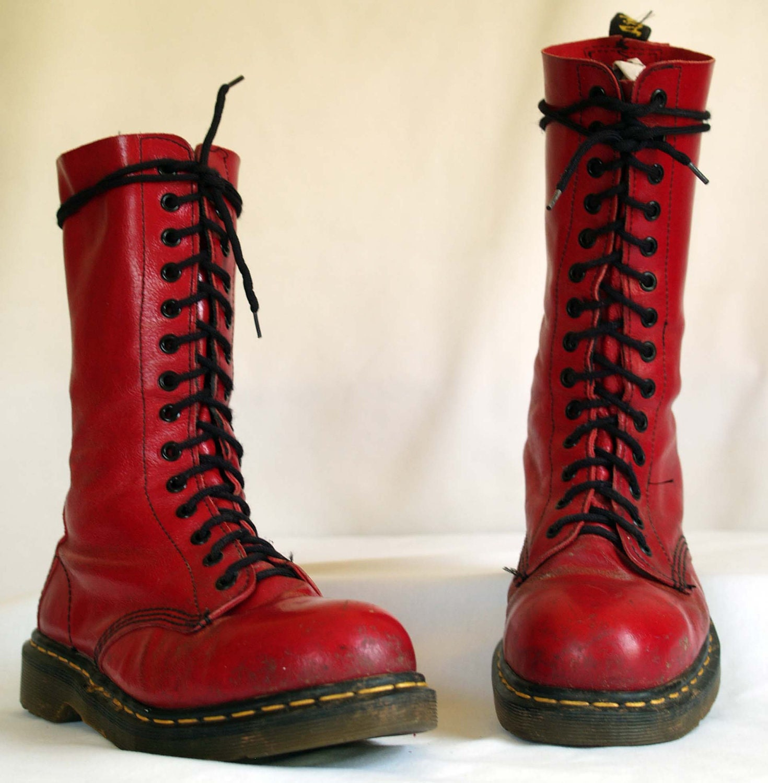 vintage dr martens. lace up steel toe grunge. red by ShopNDG