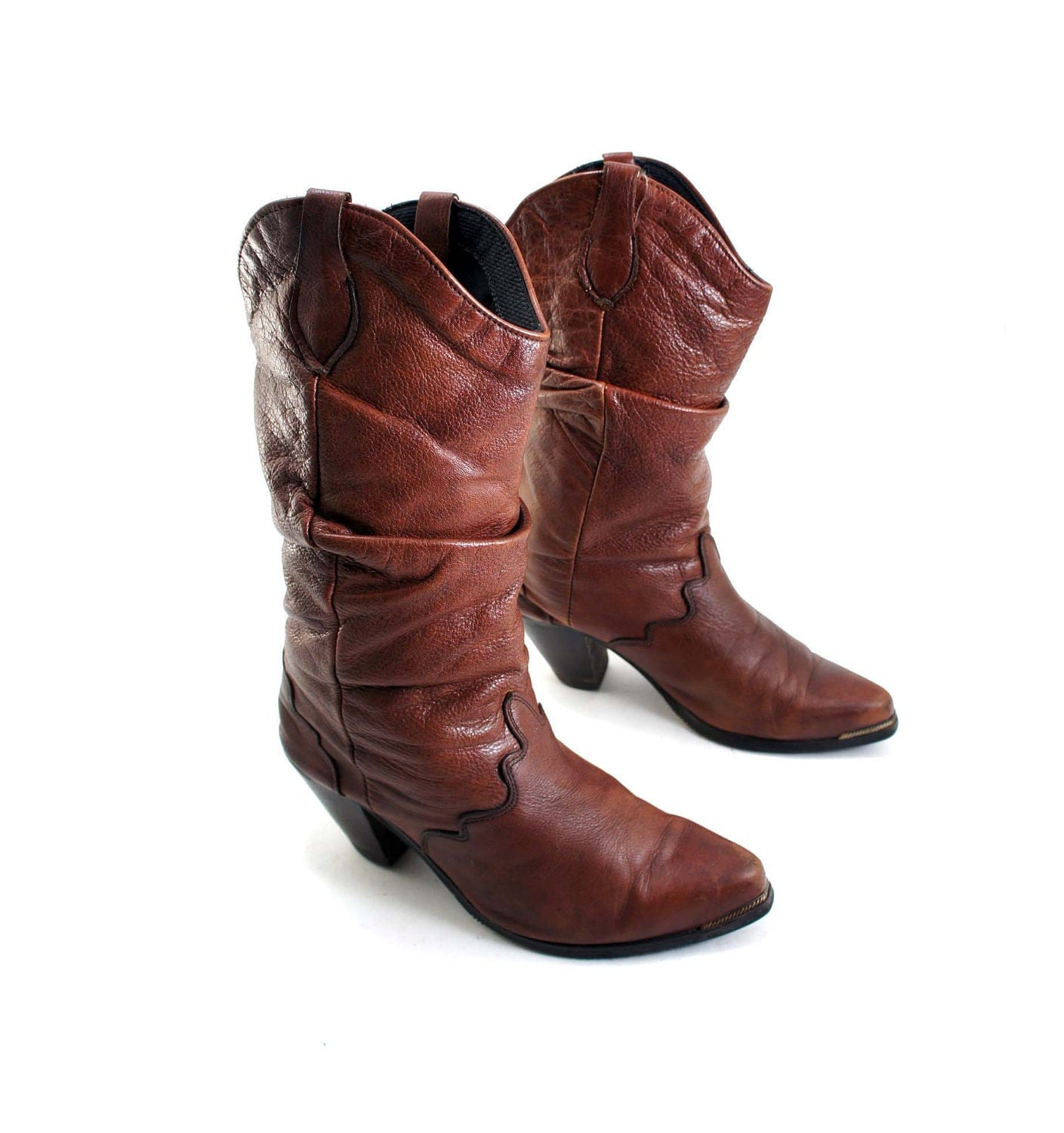 brown leather slouch cowboy boots with western fashion by