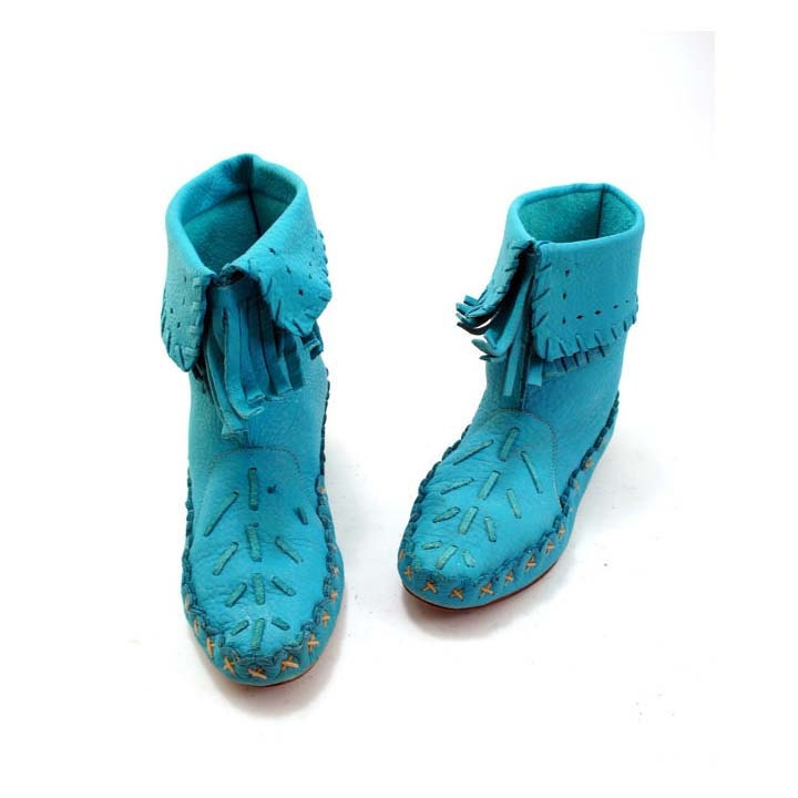 turquoise moccasin ankle boots with fold cuff and