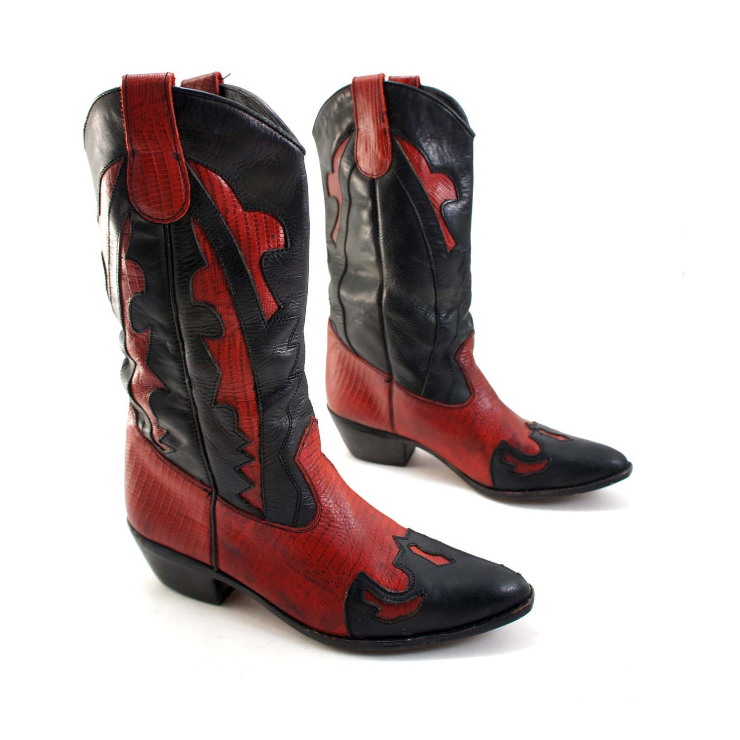 Red And Black Inlay Cowboy Boots With Lizard Textured Leather