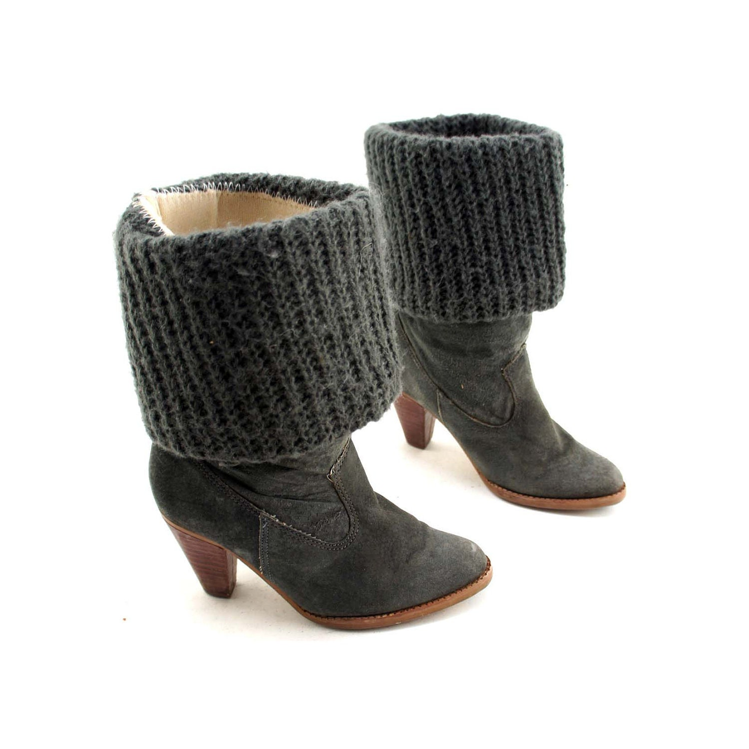 black friday heeled sweater cuff boots gray leather by