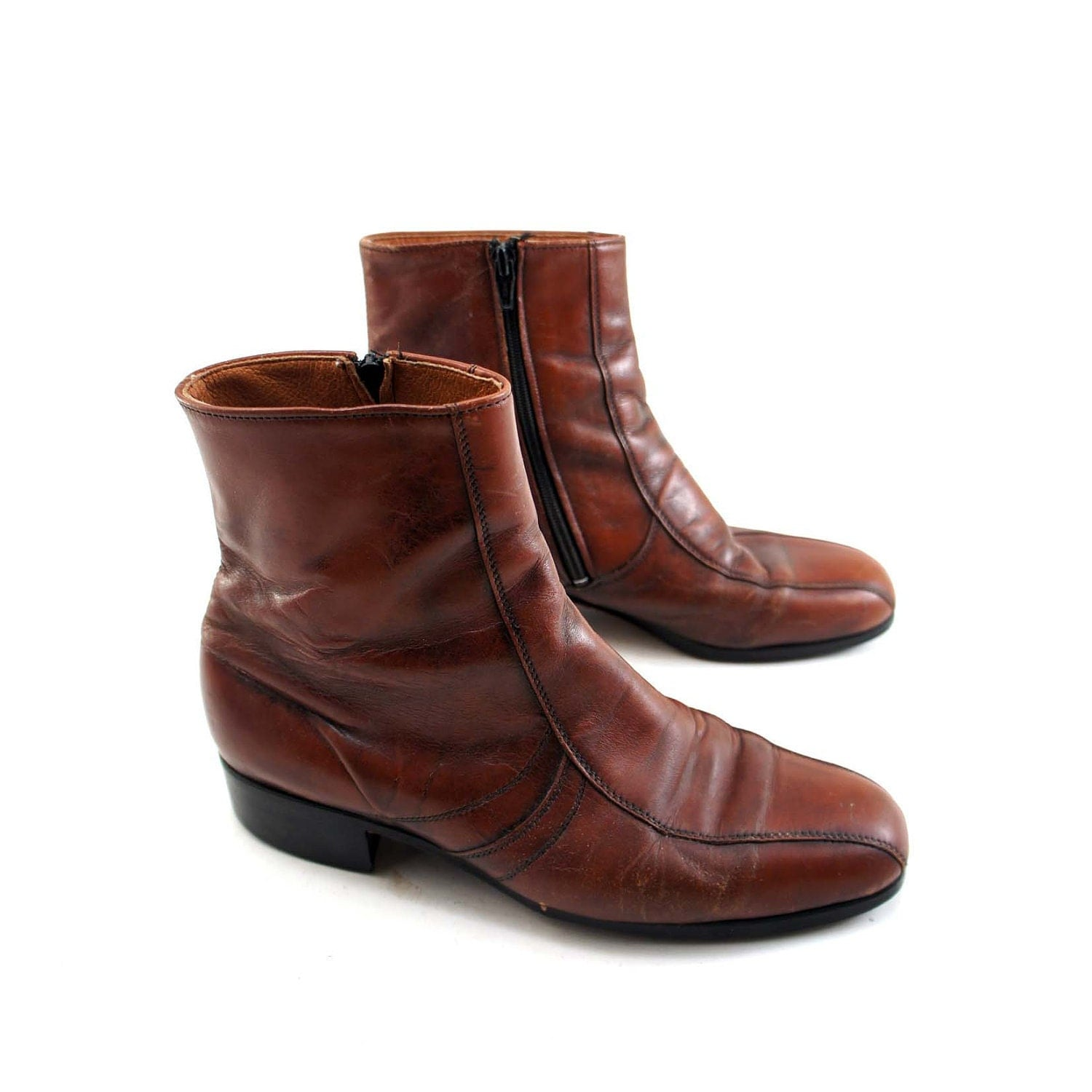 Vintage Beatle Boots With Zipperes Sides In Brown For A