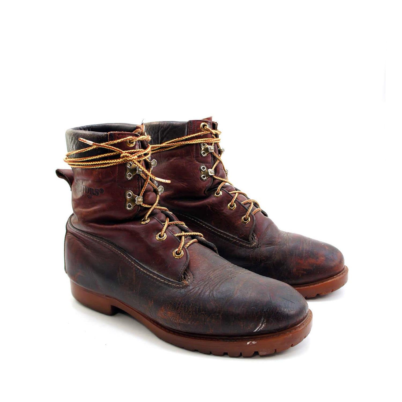 vintage herman survivors mens boots in oxblood worn in leather