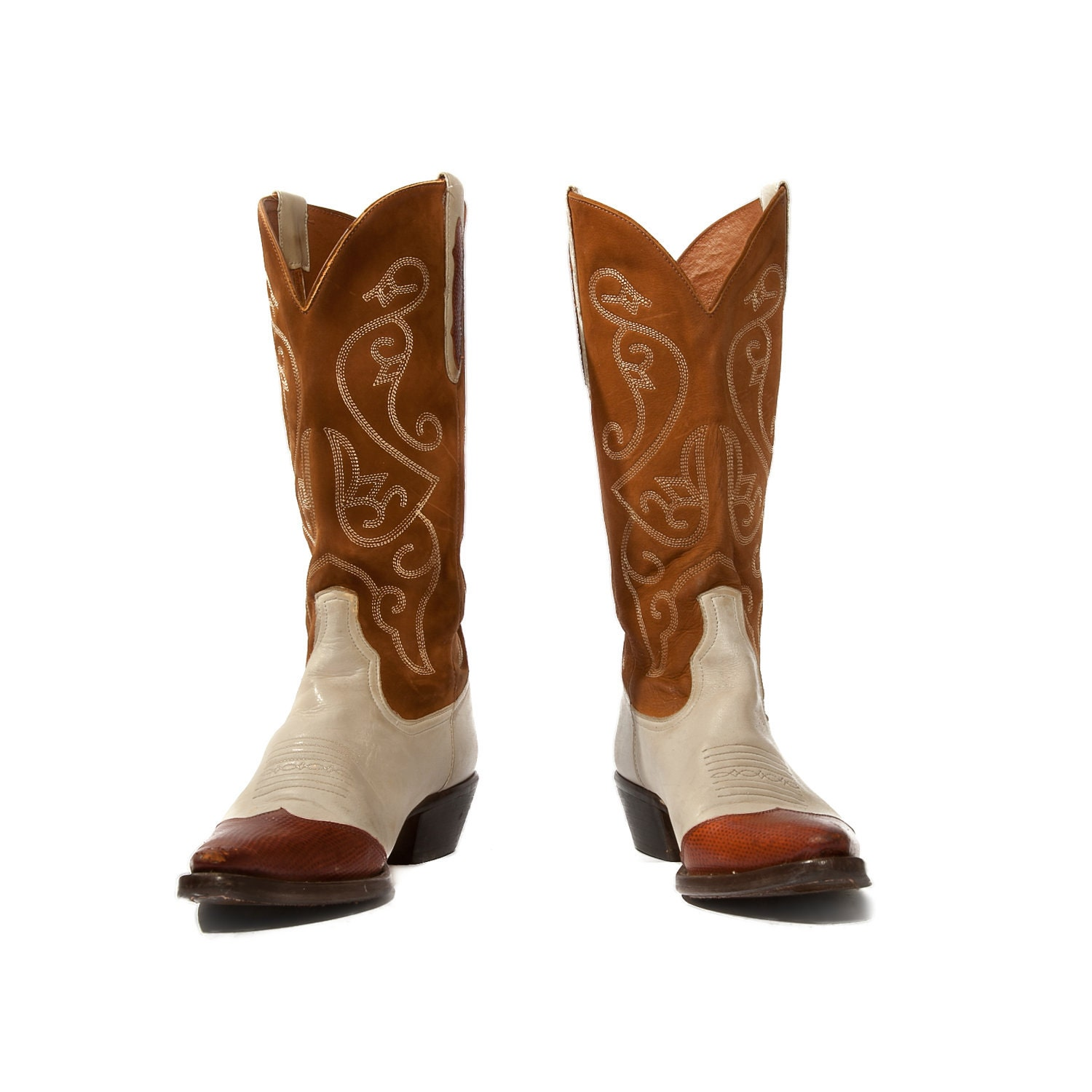 Vintage Nine West Cowboy Boots Two Tone Western Boots