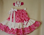 Girl's Pillowcase Dress Custom Boutique Children's Clothing Handmade Toddler In Shades of Red and Pink