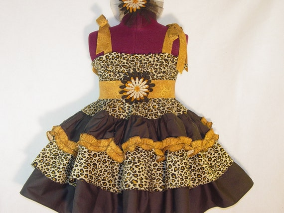 Fall Leopard Print Shabby Chic Toddler Girl Dress 4T / 5T Boutique OOAK Handmade Children Clothing Kids Clothes