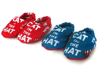 Dr. Seuss Baby Shoes Baby Booties, The Cat In The Hat Baby Gift Red Or Blue