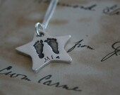 Hand & Footprint Star Necklace - your child's actual prints