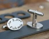 Personalized Mr and Mrs Cufflinks - cuff links for groom, wedding day cuff links, silver cufflinks, personalized cuff links