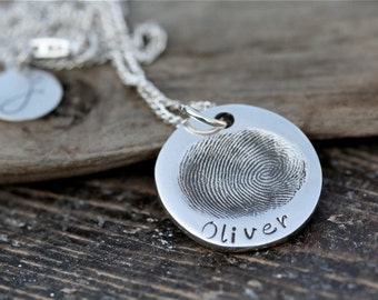 Personalized Fingerprint Coin Necklace