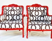 Red Armchairs with Cotton Geometric