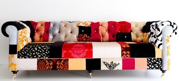 Sale chesterfiled sofa patchwork for Patchwork couch