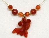 Red Agate Goldfish Gemstone Necklace & Earrings