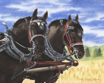 Hansen's Heavy Haulers Draft Horses watercolour painting