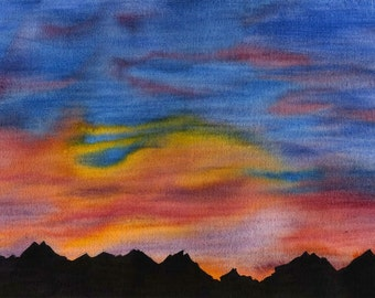 Sunset Over the Rockies watercolour painting Canada
