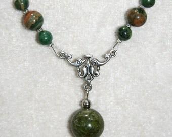 Unakite and Rhyolite necklace