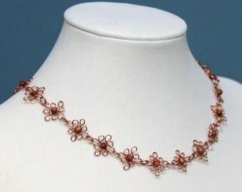 Goldstone  and copper filigree wire necklace
