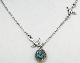 Bird Nest with Turquoise Eggs Necklace