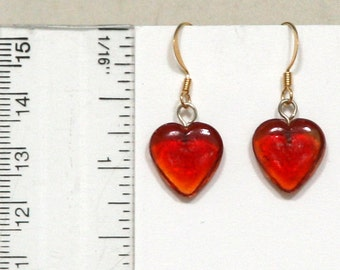 Red Glass Hearts Valentine Pendant Necklace and Earrings