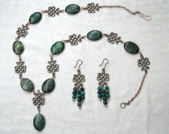 Yellow Turquoise & Antiqued Copper Celtic Knot Necklace and Earrings